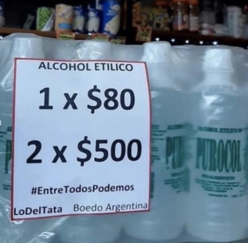alcohol precios coronaviruts